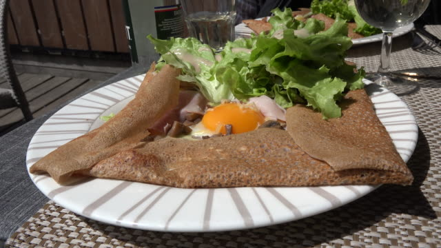france crepe with egg - crepe stock videos & royalty-free footage
