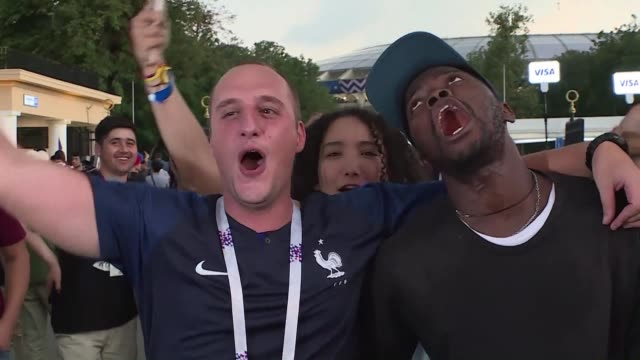 france fans at luzhniki stadium in moscow react to winning the world cup for the second time in history after beating croatia 42 in the final - luzhniki stadium stock videos & royalty-free footage