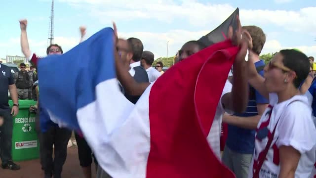 france fans celebrated a 20 victory over nigeria on monday booking themselves a place in the world cup quarter finals - sportweltmeisterschaft stock-videos und b-roll-filmmaterial