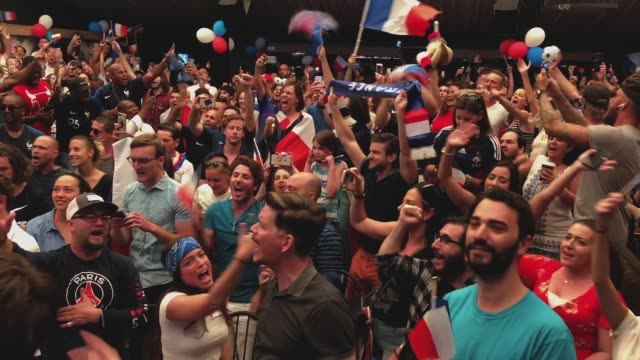 france fans gather at a watch party as france defeats croatia to win the world cup on july 15 2018 in los angeles california - fifa world cup stock videos & royalty-free footage