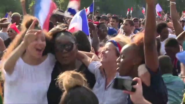 france fans in bondy kylian mbappe's birthplace celebrate france's fourth goal scored by mbappe himself in the world cup final against croatia - hometown stock videos and b-roll footage