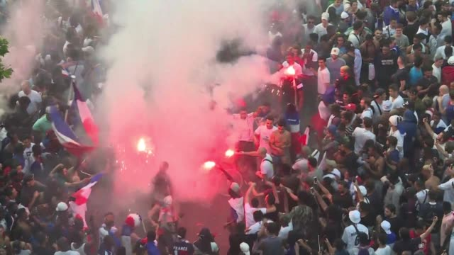 france fans on paris's champs elysees burst into celebration after france win the world cup for the second time in history after beating croatia 42... - luzhniki stadium stock videos & royalty-free footage