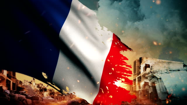 4k france flag - crisis / war / fire (loop) - french flag stock videos and b-roll footage