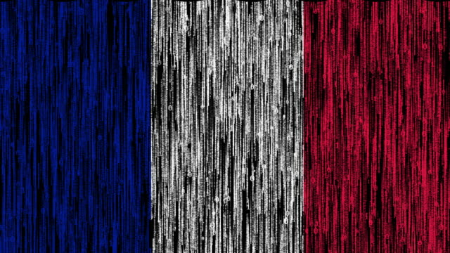 france flag digitally generated animation with ones and zeros binary computer code - french flag stock videos & royalty-free footage