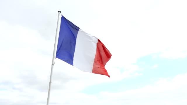 HD: Francia bandera ondeando en el viento