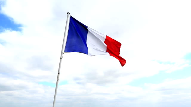 HD: France Flag Flying in the wind