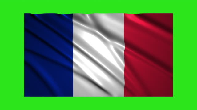 France flag waving,loopable on green screen