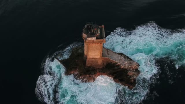 france from the sky, pointe du raz with la vieille lighthouse - hot tub stock videos & royalty-free footage