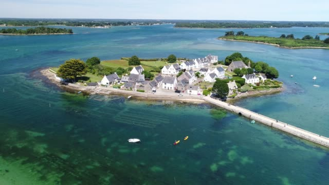 france from the sky : ria d'etel and golfe du morbihan, saint-cado - bay of water stock videos & royalty-free footage