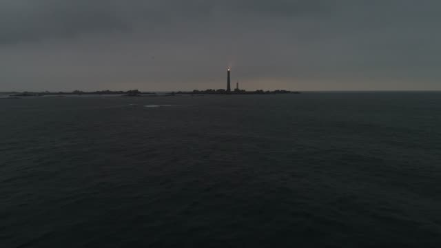 france from the sky : the highest lighthouse in europe : l'île vierge - 海景点の映像素材/bロール