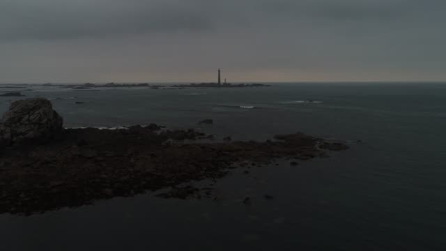 france from the sky : the highest lighthouse in europe : l'île vierge - seascape stock videos & royalty-free footage