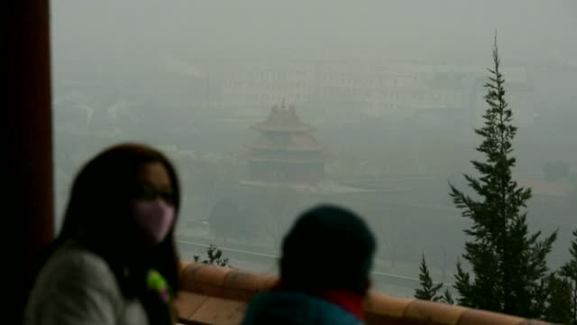 france joins movement away from petrol and diesel powered cars; t08121546 / 8.12.2015 china: beijing: ext people along street, many wearing masks... - smog video stock e b–roll