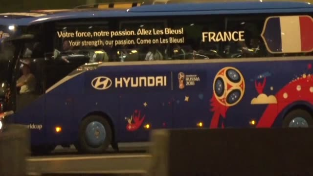 France leave Luzhniki Stadium on their team bus following their 42 victory against Croatia in the World Cup final