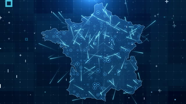france map connections full details background 4k - france stock videos & royalty-free footage