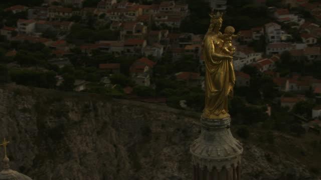 france, marseille: the virgin statue of eugène lesquene - notre dame de la garde marseille stock videos and b-roll footage