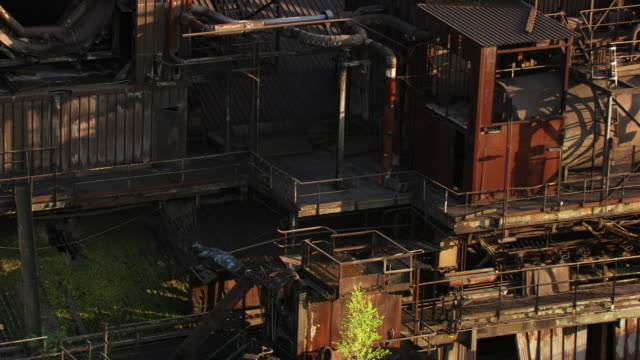 france, metz lorraine: abandoned steel factory - metz stock videos and b-roll footage