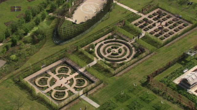 france, metz lorraine: aerial view of the botanical garden of metz - metz stock videos and b-roll footage
