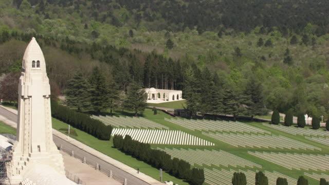 france, metz lorraine: aerial view of the ossuary of douaumont - lorraine bildbanksvideor och videomaterial från bakom kulisserna