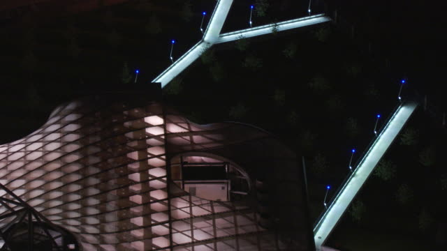 france, metz lorraine: cultural center pompidou-metz by night - metz stock videos & royalty-free footage