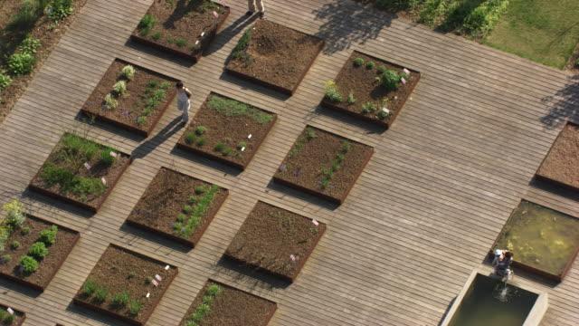 france, metz lorraine: people walking in a kitchen garden - lorraine stock videos & royalty-free footage