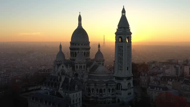 france, montmartre sacré-coeur basilica in paris, drone aerial view during sunset - paris france stock videos & royalty-free footage