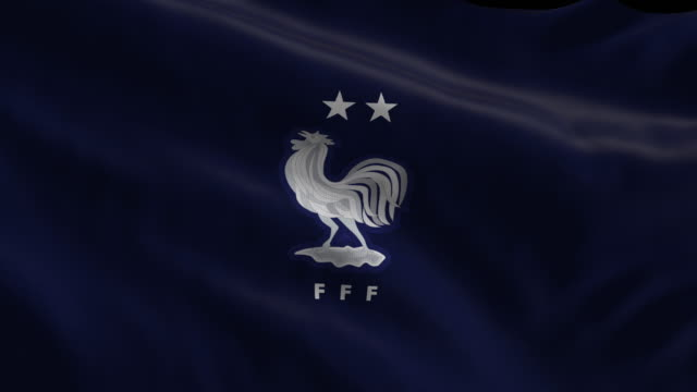 france national soccer team flag waving computer generated animation for editorial use seamlessly looped and close up - loopable elements stock videos & royalty-free footage