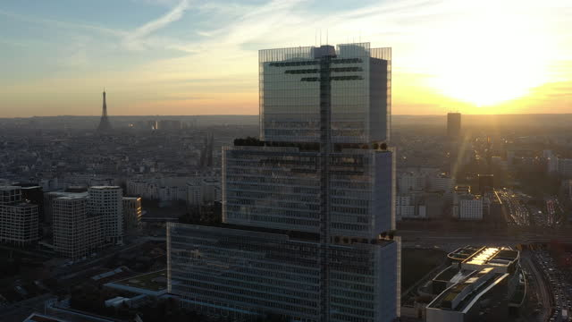 france, new courthouse tribunal de paris, drone aerial view during the sunset - government minister stock videos & royalty-free footage
