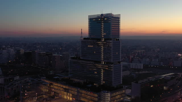 france, new paris courthouse illuminated, drone view at night - government minister stock videos & royalty-free footage