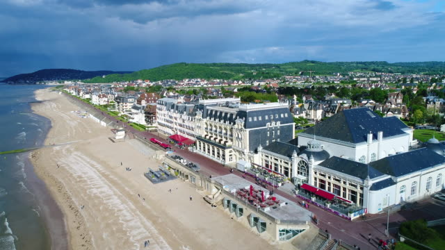 france, normandy, aerial view of cabourg - normandie stock-videos und b-roll-filmmaterial