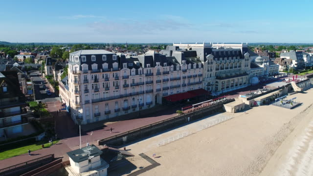 france, normandy, aerial view of cabourg - ノルマンディー点の映像素材/bロール