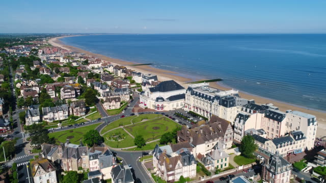 france, normandy, aerial view of cabourg - カブール点の映像素材/bロール