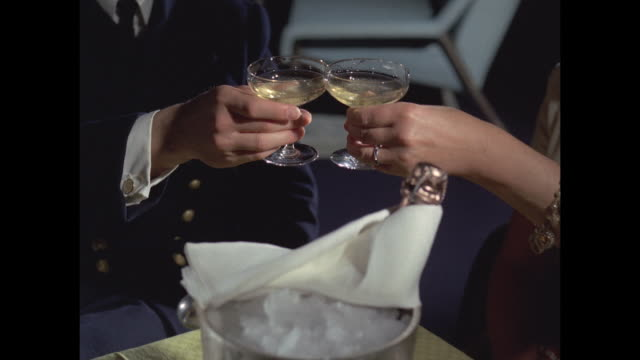 1968 - ss france ocean liner - a champagne toast - champagne flute stock videos & royalty-free footage