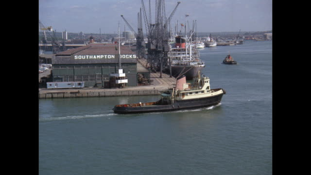 1968 - SS France ocean liner approaching the docks at Southampton