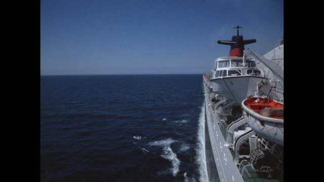 1968 - ss france ocean liner - at sea - water sport stock videos and b-roll footage