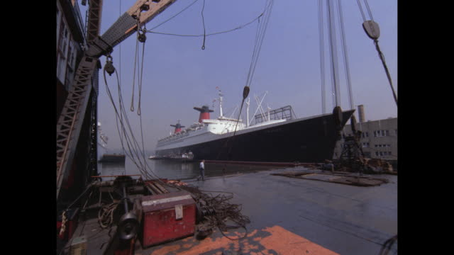 1968 - SS France ocean liner docked at Pier 92 in New York City