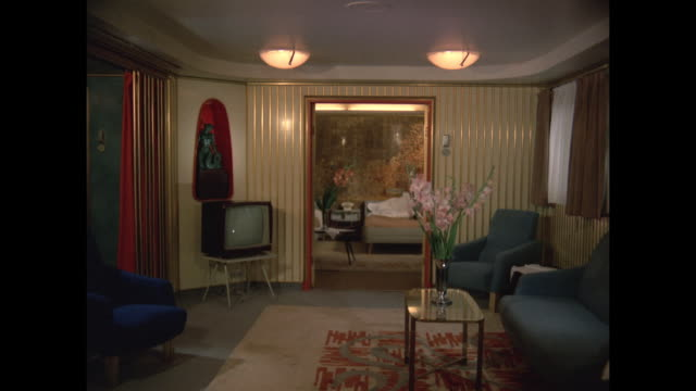 1968 - ss france ocean liner - grand suites - bed furniture stock videos & royalty-free footage