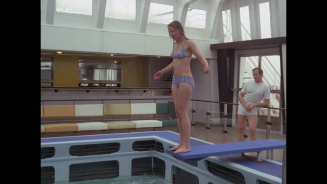 1968 - SS France ocean liner - pool and gym