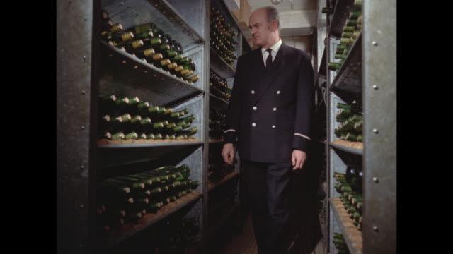 1968 - SS France ocean liner - wine cellar