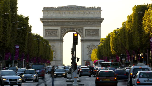 france paris europe arc de triomphe avenue champs elyses tl  - 凱旋門点の映像素材/bロール