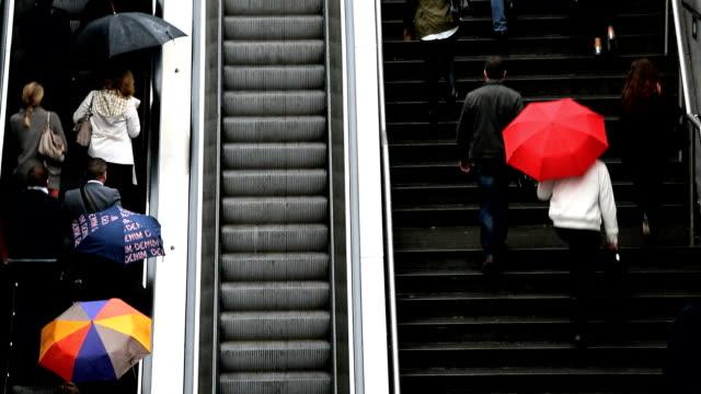 France Paris La Defence escalators motion steps commuter people