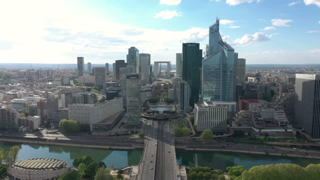 france, paris la défense, drone aerial view - paris france stock-videos und b-roll-filmmaterial