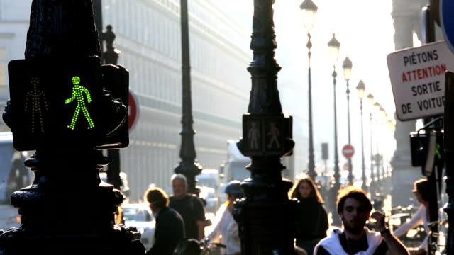 france paris lights crossing illuminated traffic vehicle transport - walk don't walk signal stock videos and b-roll footage