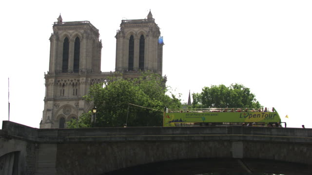 france - paris : notre-dame cathedral - river seine stock videos & royalty-free footage