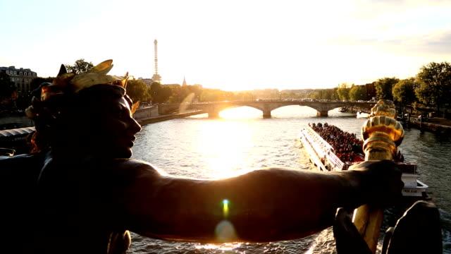 France Paris Pont Alexandre 111 bridge River Seine Eiffel tower sunset