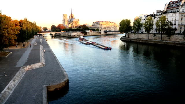 France Paris River Seine Notre Dame church cathedral sunrise