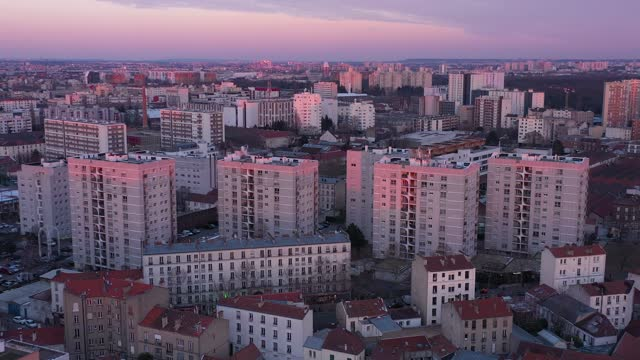 france, paris suburb, aubervilliers, hlm buildings during sunset - france stock videos & royalty-free footage
