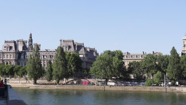 france, paris town hall, river seine in foreground - hotel de ville paris stock videos & royalty-free footage