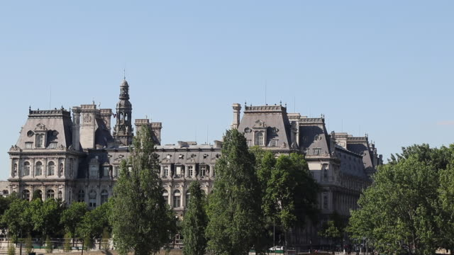 france, paris town hall - hotel de ville paris stock videos & royalty-free footage