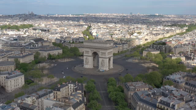 france, paris triumphal arch in champs elysees drone aerial view - arc de triomphe paris stock videos & royalty-free footage