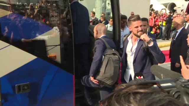 france players get a hero's welcome as they touchdown at roissy airport near paris the day after their world cup win in moscow before boarding their... - parade stock videos & royalty-free footage